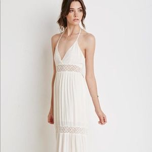 Forever 21 Crochet Paneled Maxi Dress in White